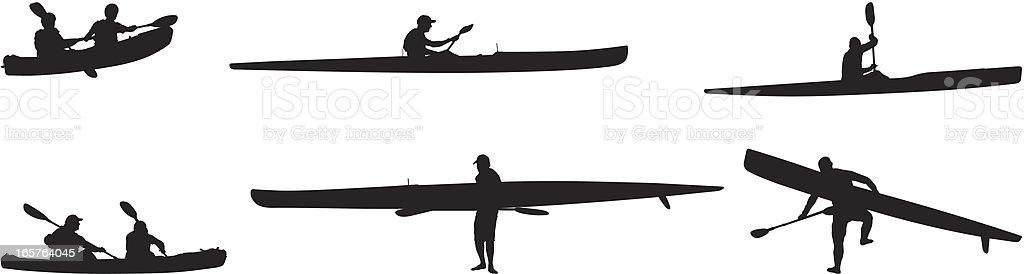 Kayaking and canoeing vector art illustration