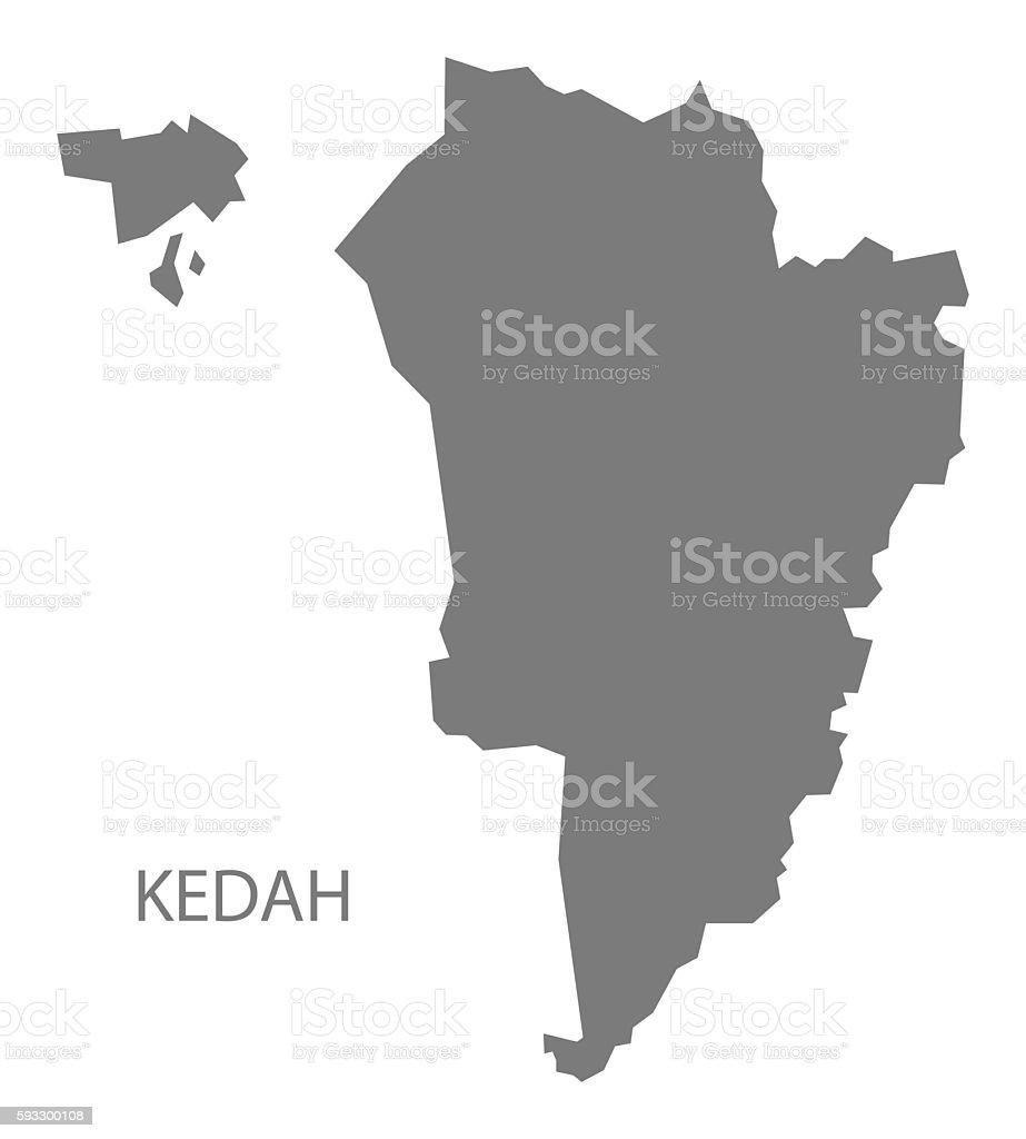 Kedah Malaysia Map grey vector art illustration