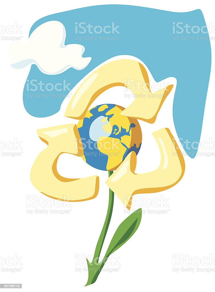 Keep the Earth - recycle. Allegory of environment protection royalty-free stock vector art