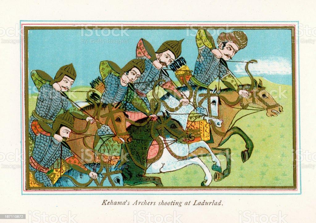 Kehama's Archers royalty-free stock vector art