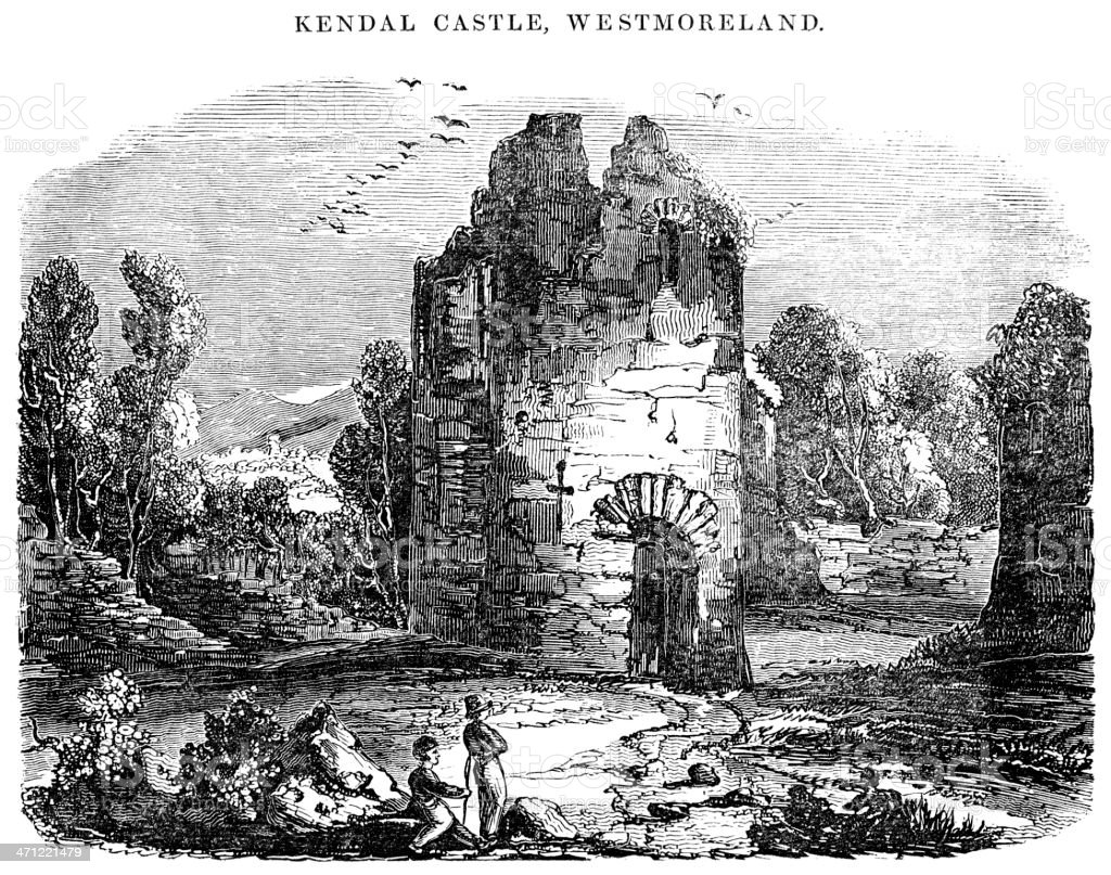 Kendal Castle, Westmoreland - 1833 woodcut illustration vector art illustration