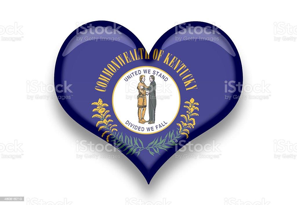 Kentucky State Flag Heart Shape with Shadows vector art illustration