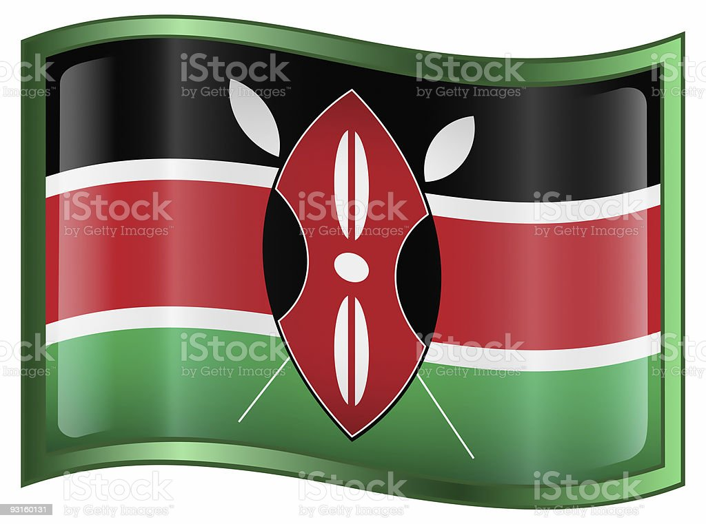 Kenya Flag Icon, isolated on white background. royalty-free stock vector art