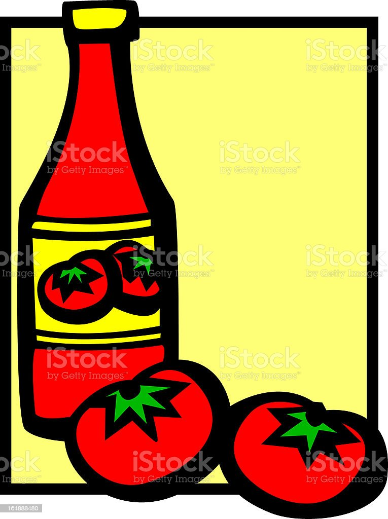 ketchup bottle and two tomatoes royalty-free stock vector art