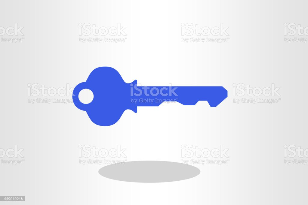 key against plain background vector art illustration