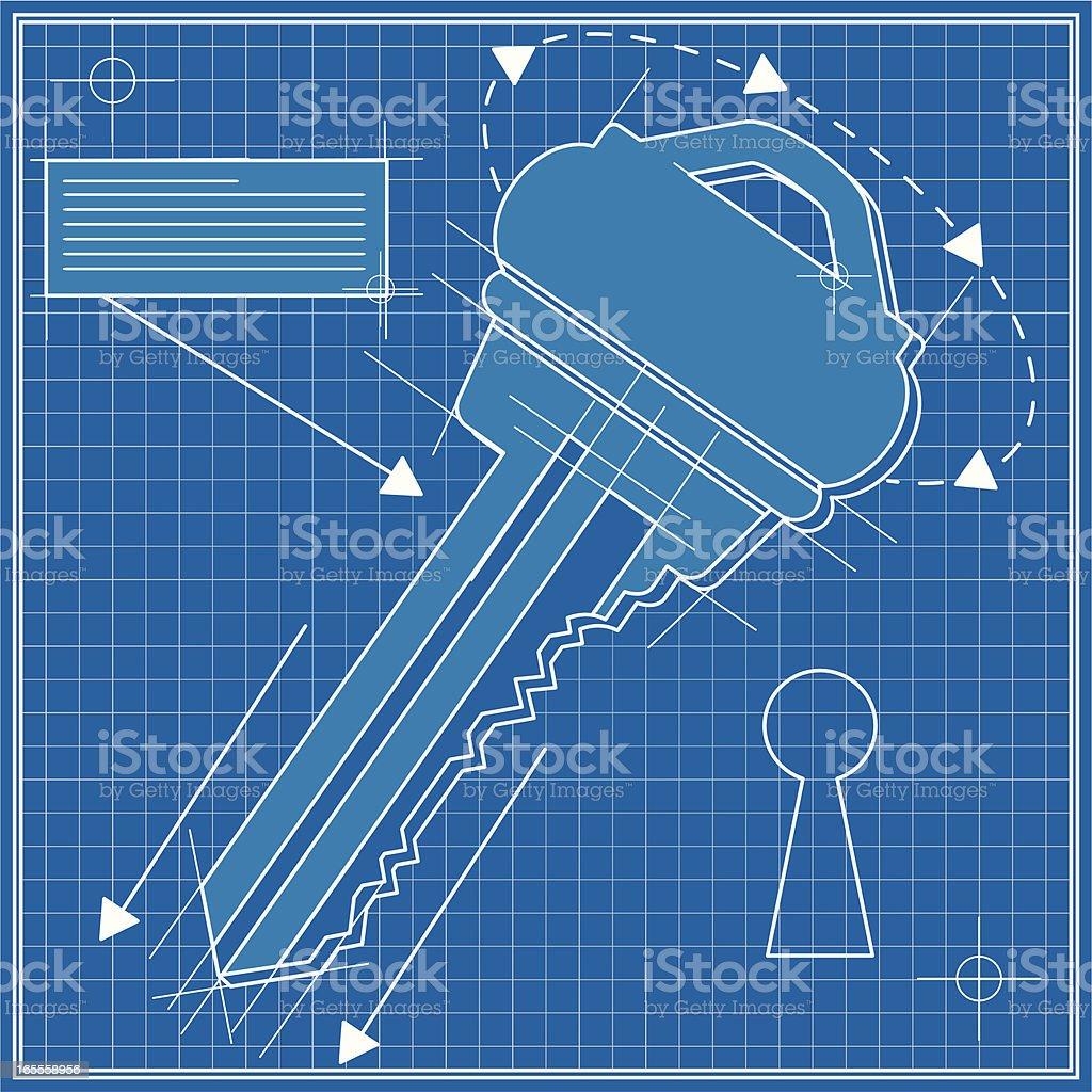 key blue print royalty-free stock vector art