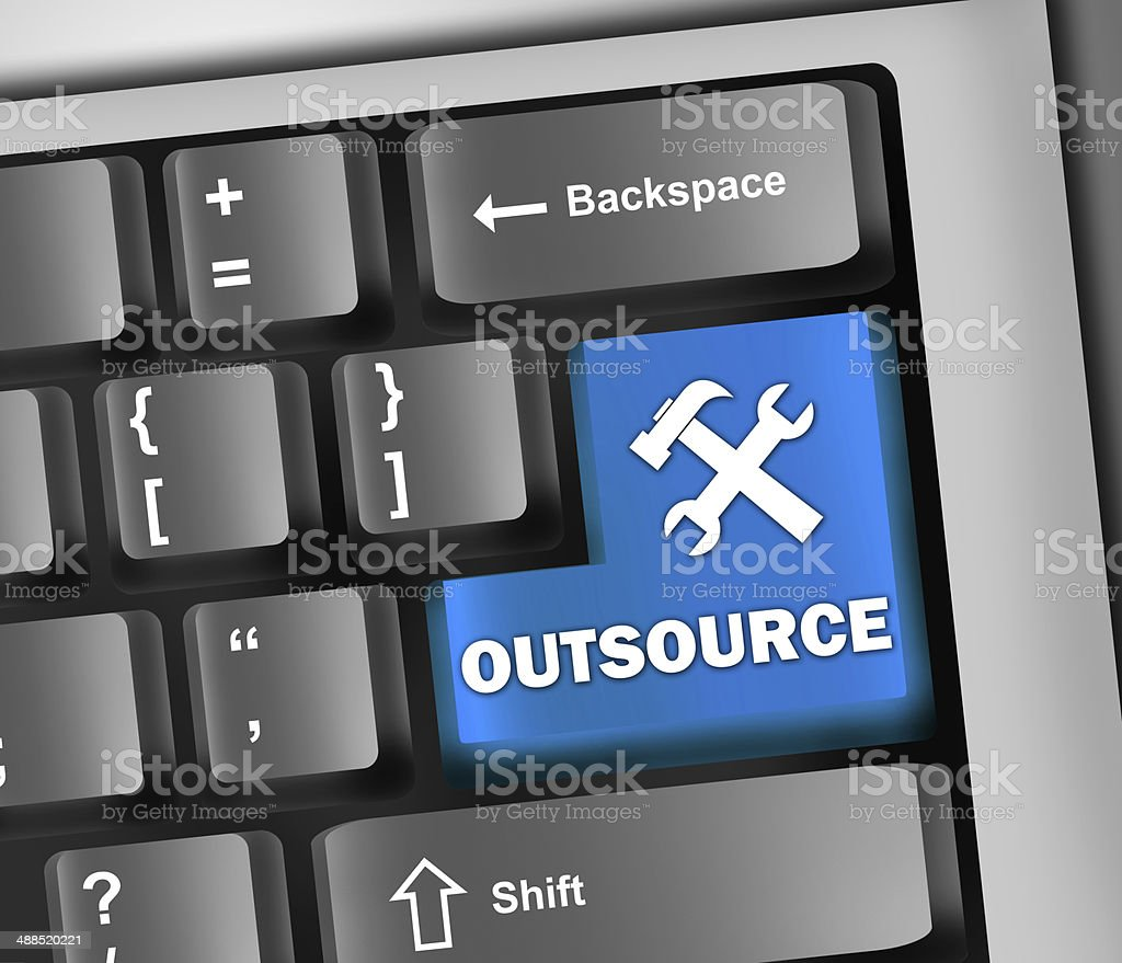 Keyboard Illustration Outsourcing vector art illustration