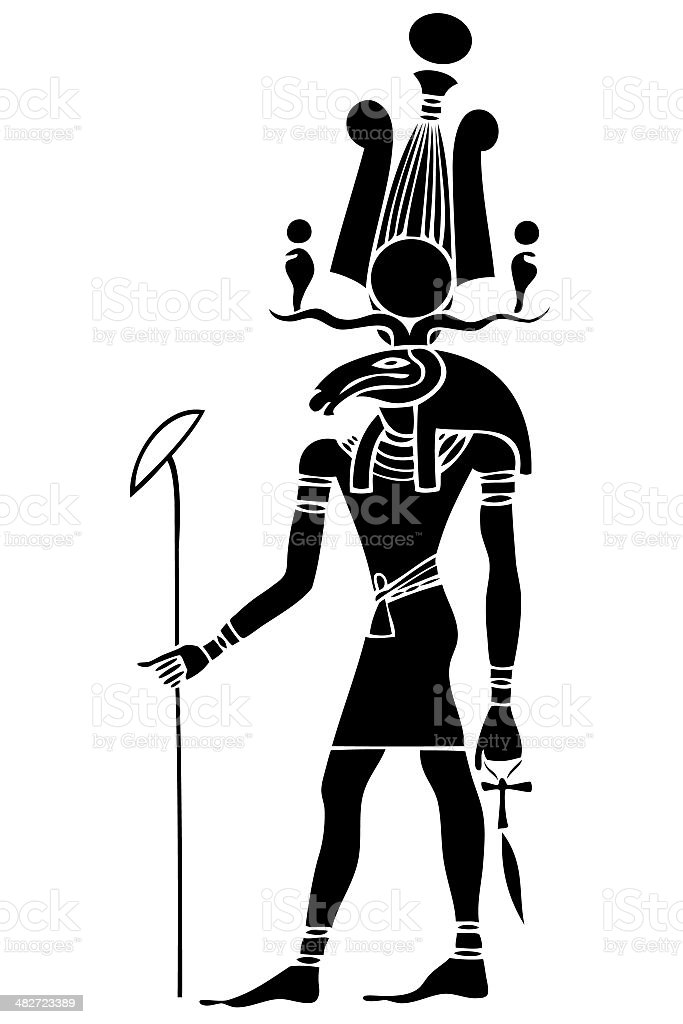 Khensu - God of ancient Egypt royalty-free stock vector art