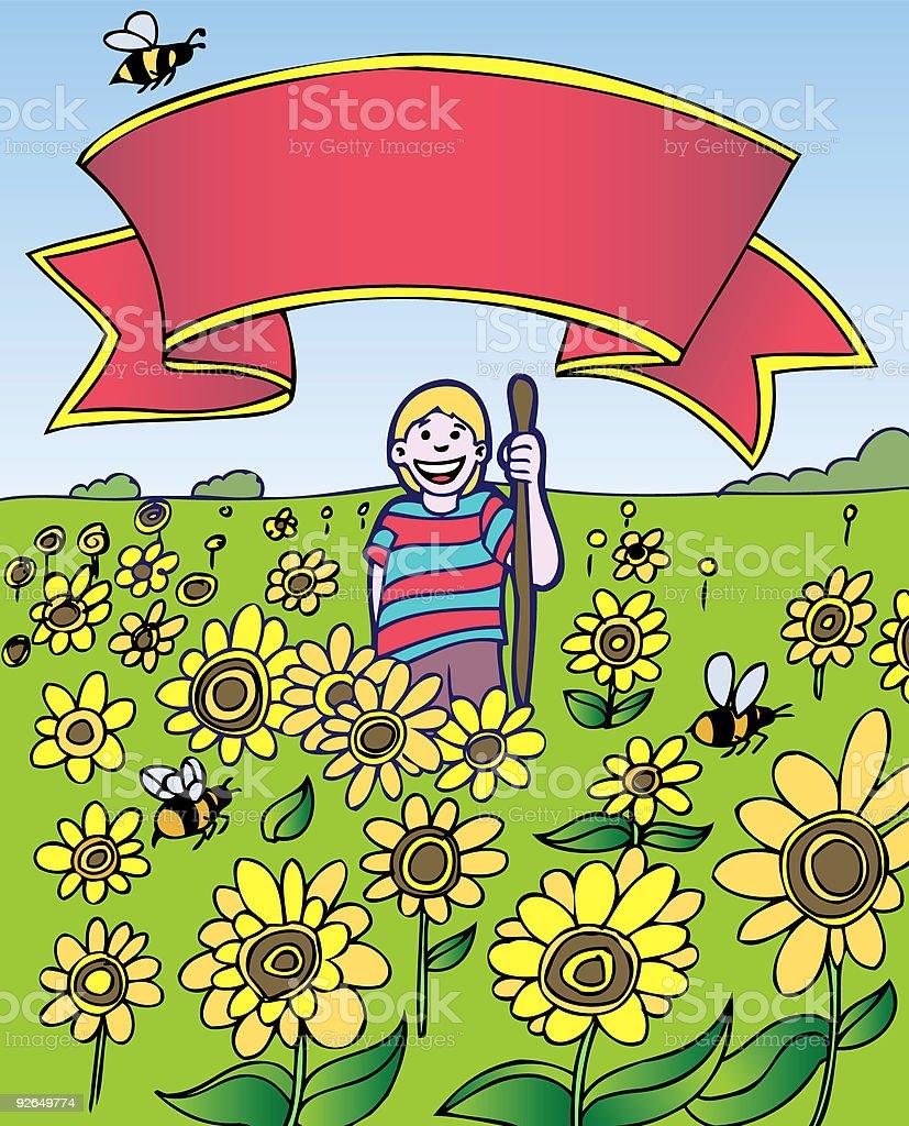 Kid Adventures: Field of Sunflowers royalty-free stock vector art