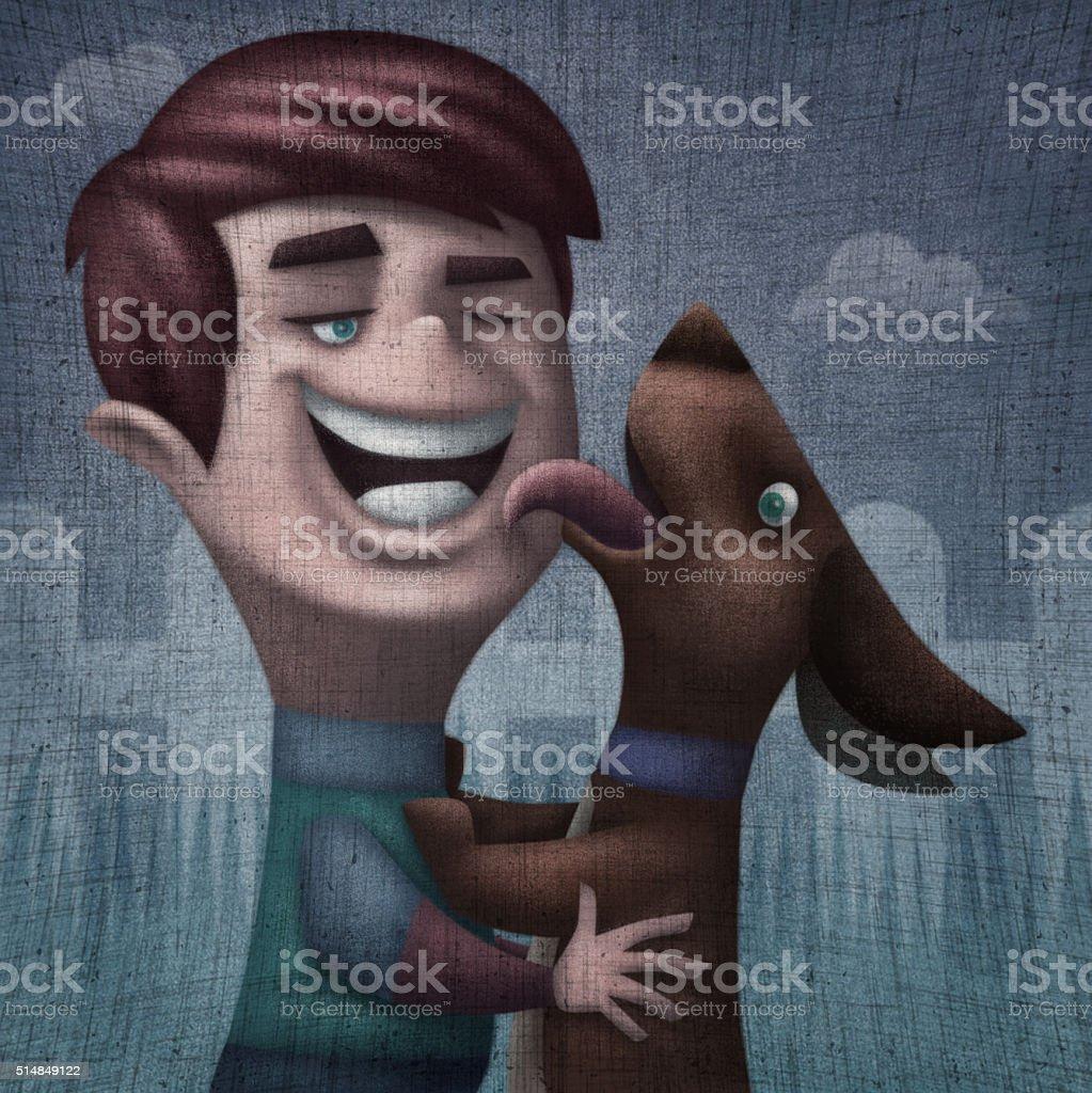kid and dog vector art illustration