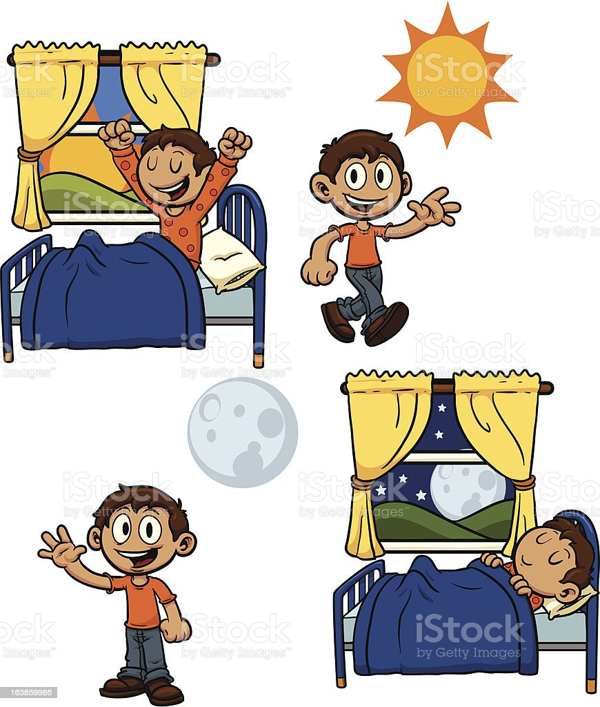 Kid during the day royalty-free stock vector art