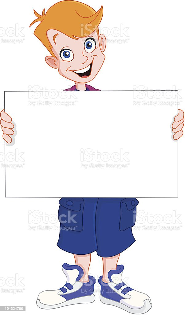 Kid holding blank sign royalty-free stock vector art