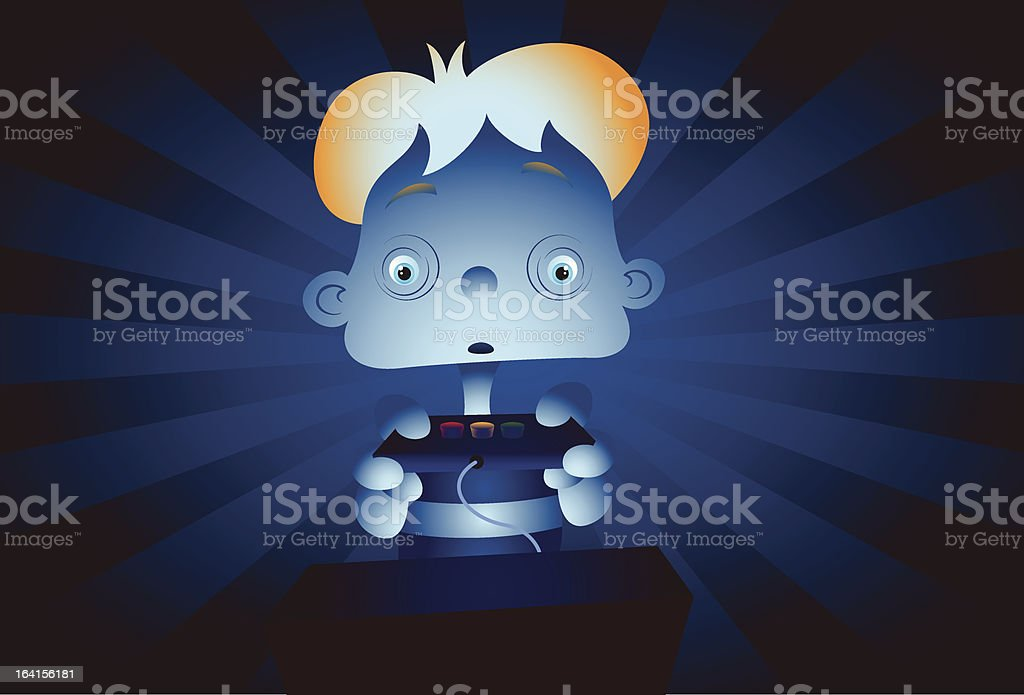 Kid playing way too much online royalty-free stock vector art