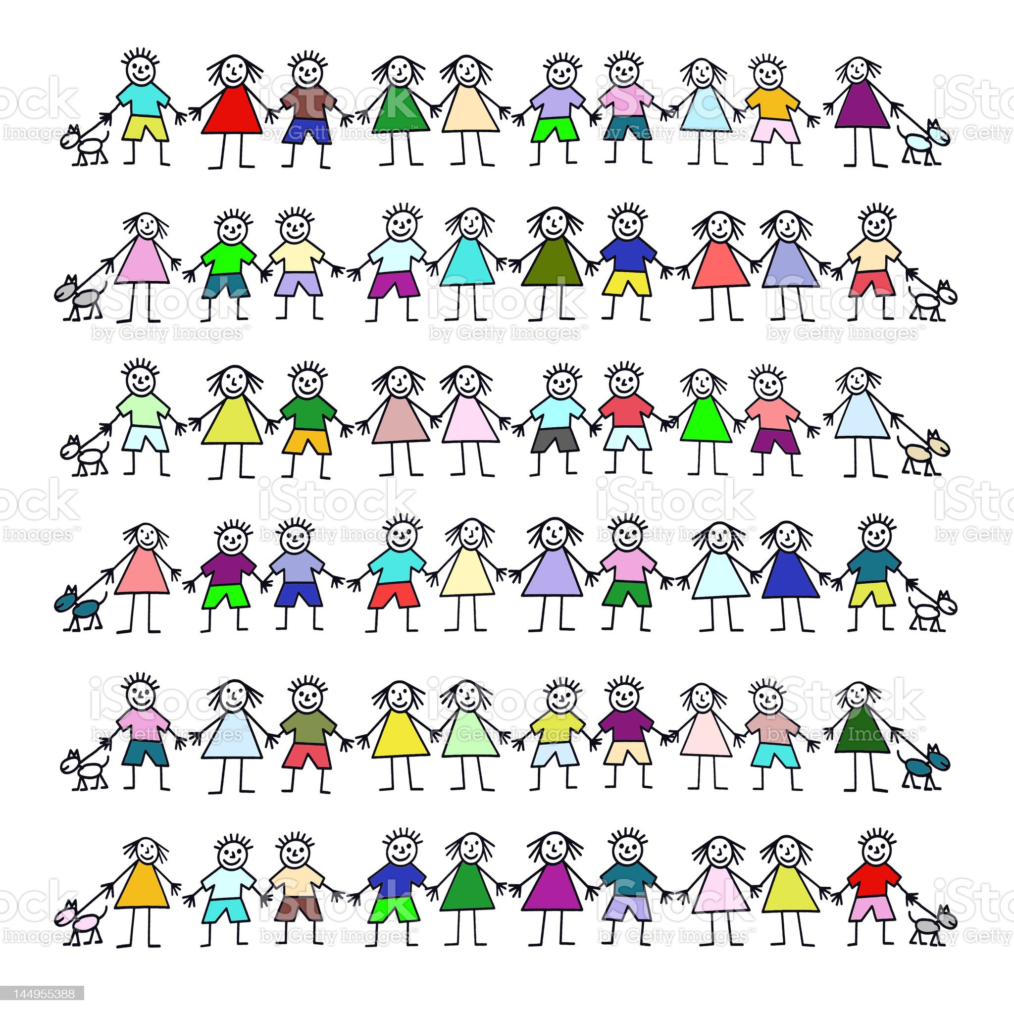 Kiddies with dogs royalty-free stock vector art