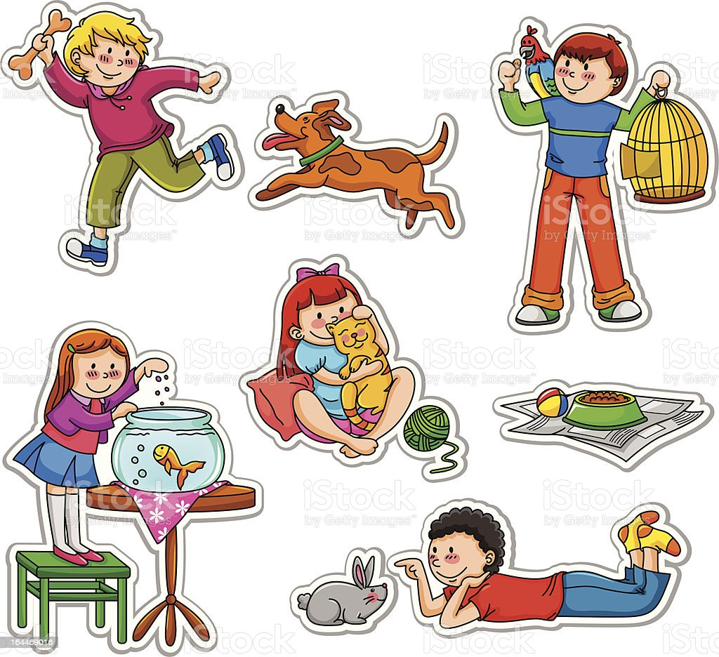 kids and their pets vector art illustration