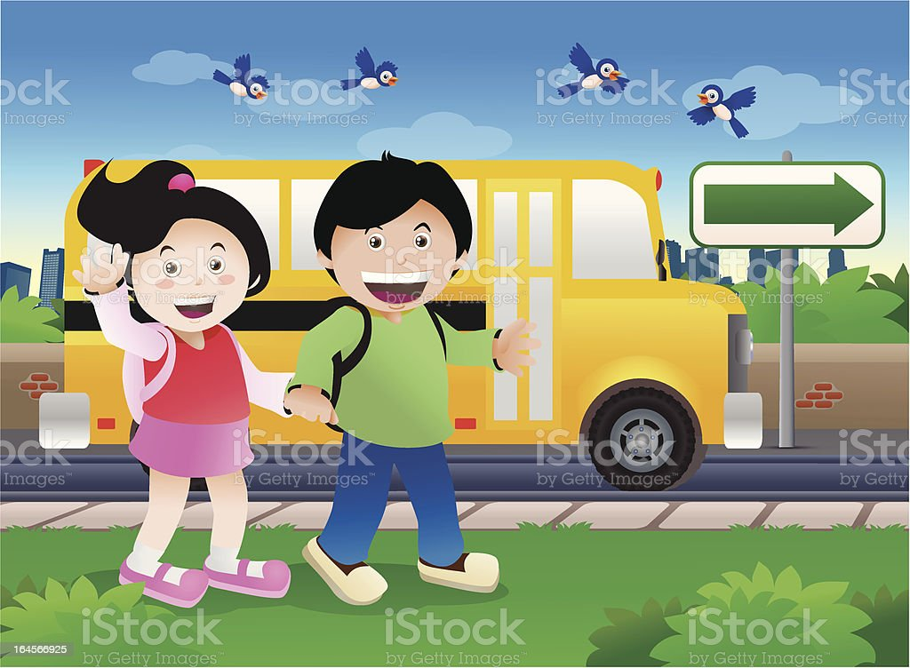 kids go to school royalty-free stock vector art
