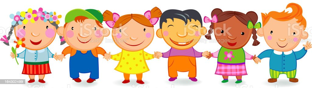 Kids holding hands royalty-free stock vector art