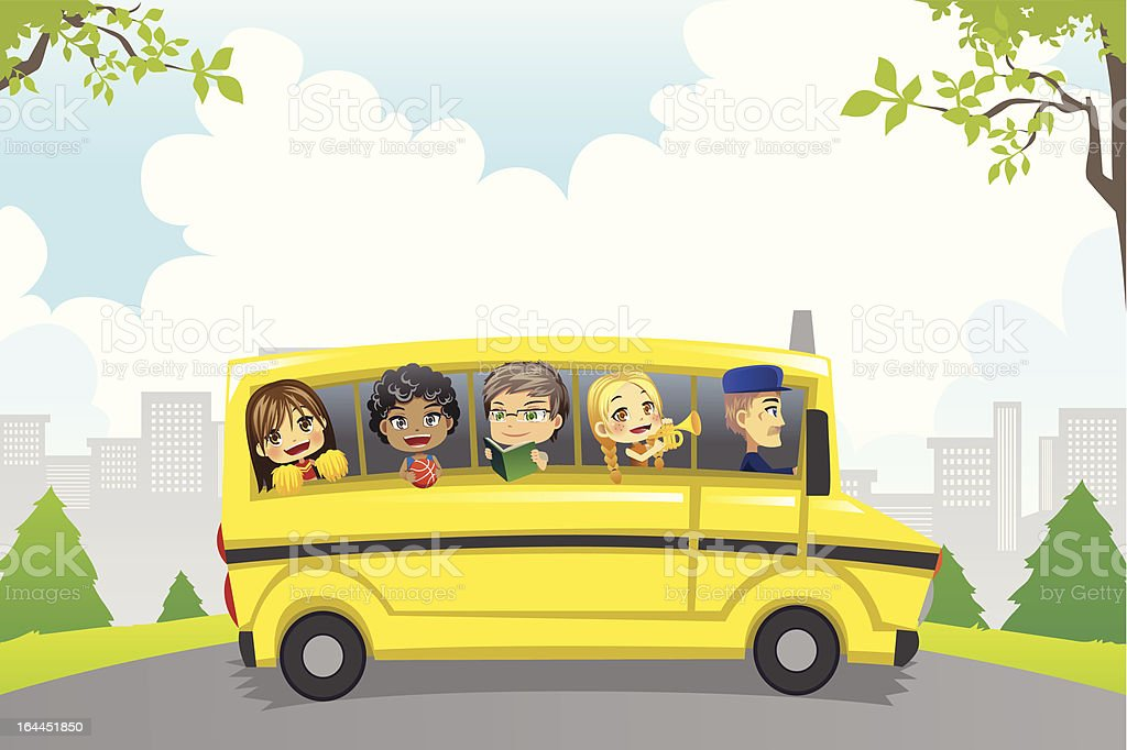 Kids in school bus royalty-free stock vector art