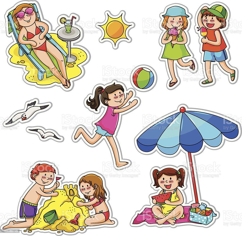 kids in summer royalty-free stock vector art