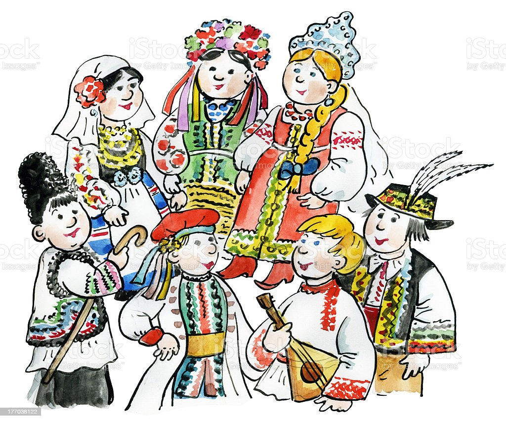 Kids in traditional East European costumes royalty-free stock vector art