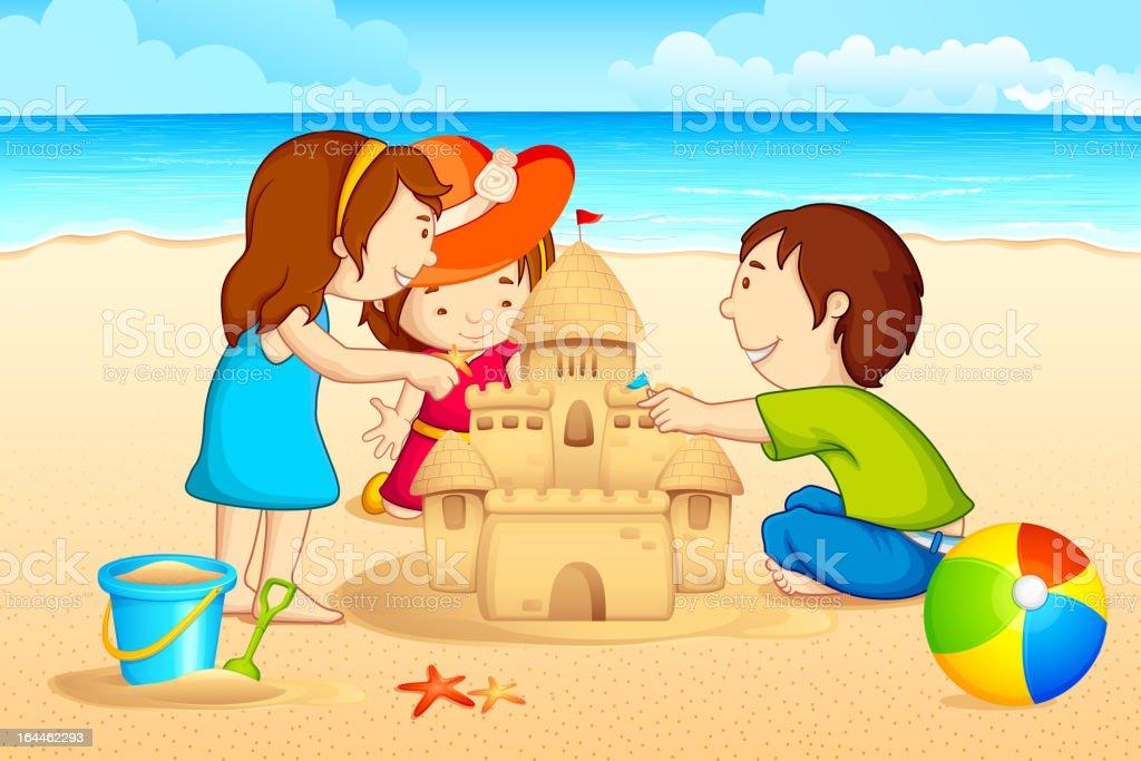 Kids making Sand Castle royalty-free stock vector art