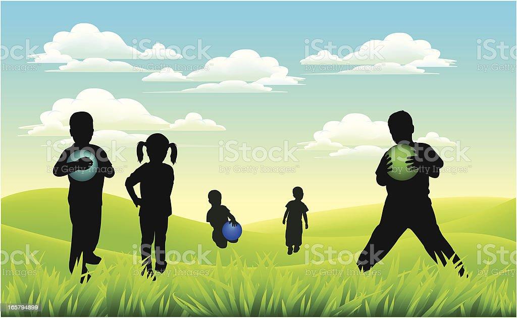 kids on meadow royalty-free stock vector art