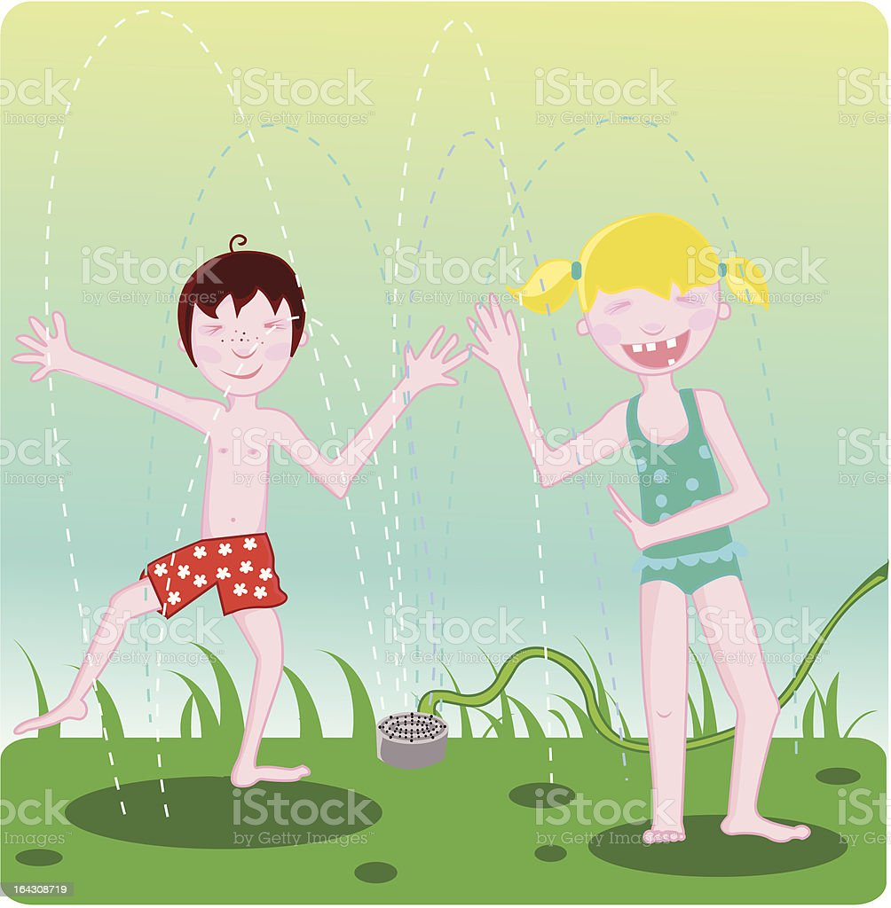 kids playing in a sprinkler vector art illustration