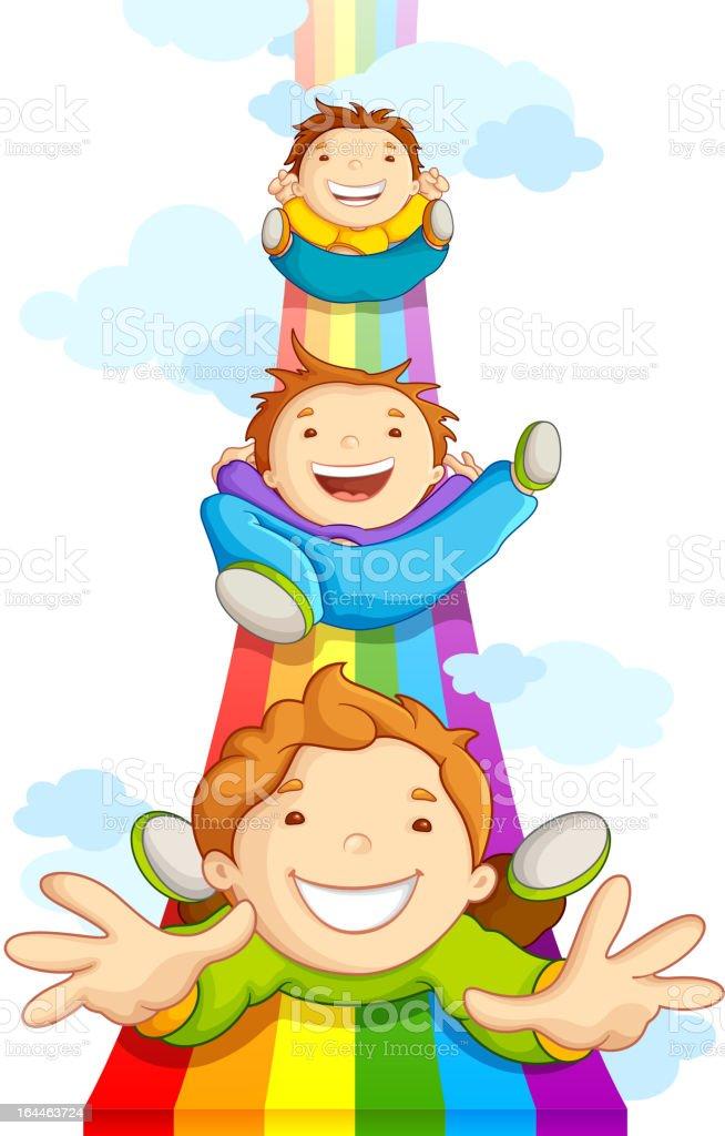Kids Sliding on Rainbow royalty-free stock vector art