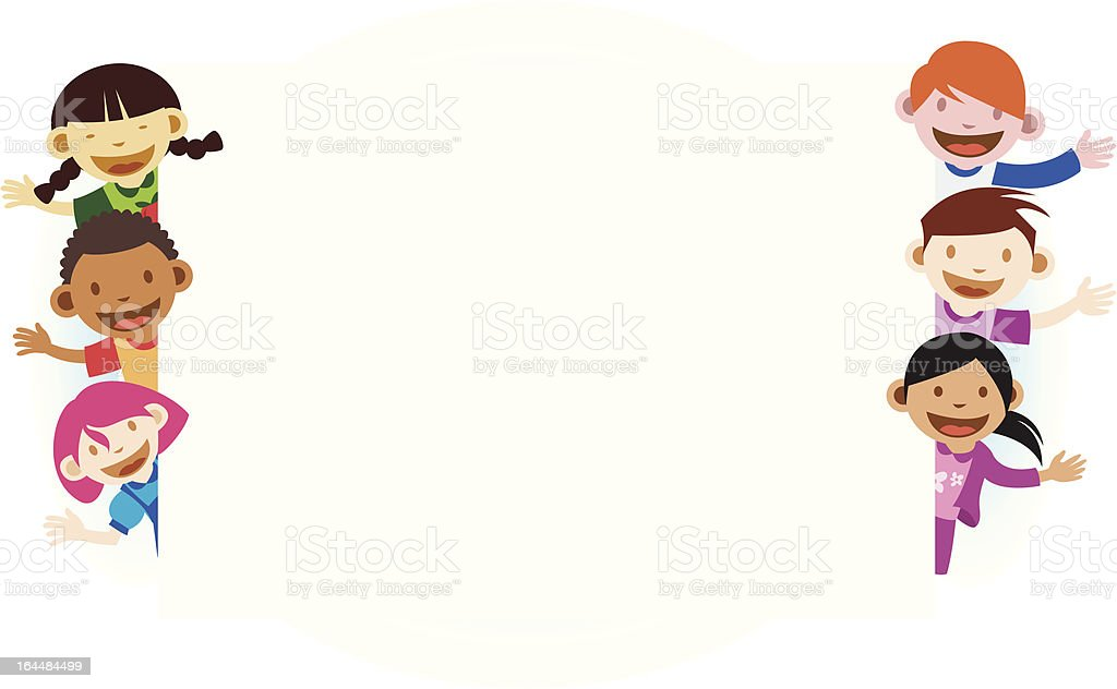 Kids with blank white banner royalty-free stock vector art