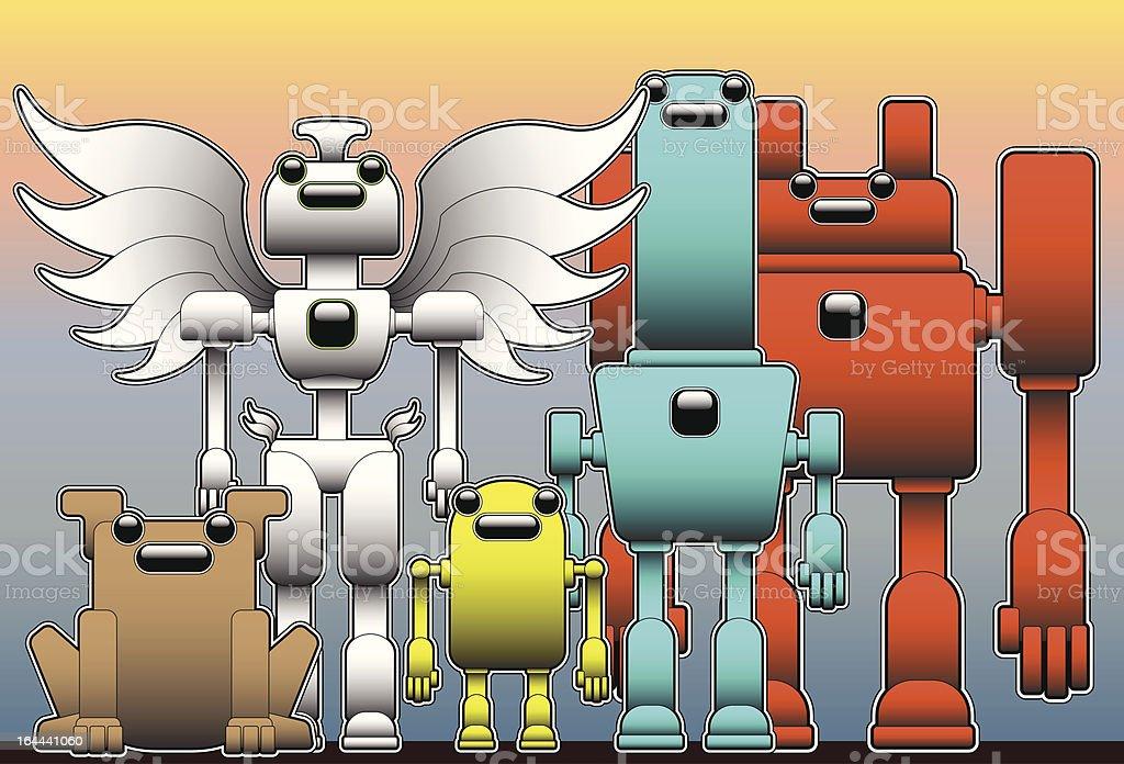 Killer Robot Crew royalty-free stock vector art