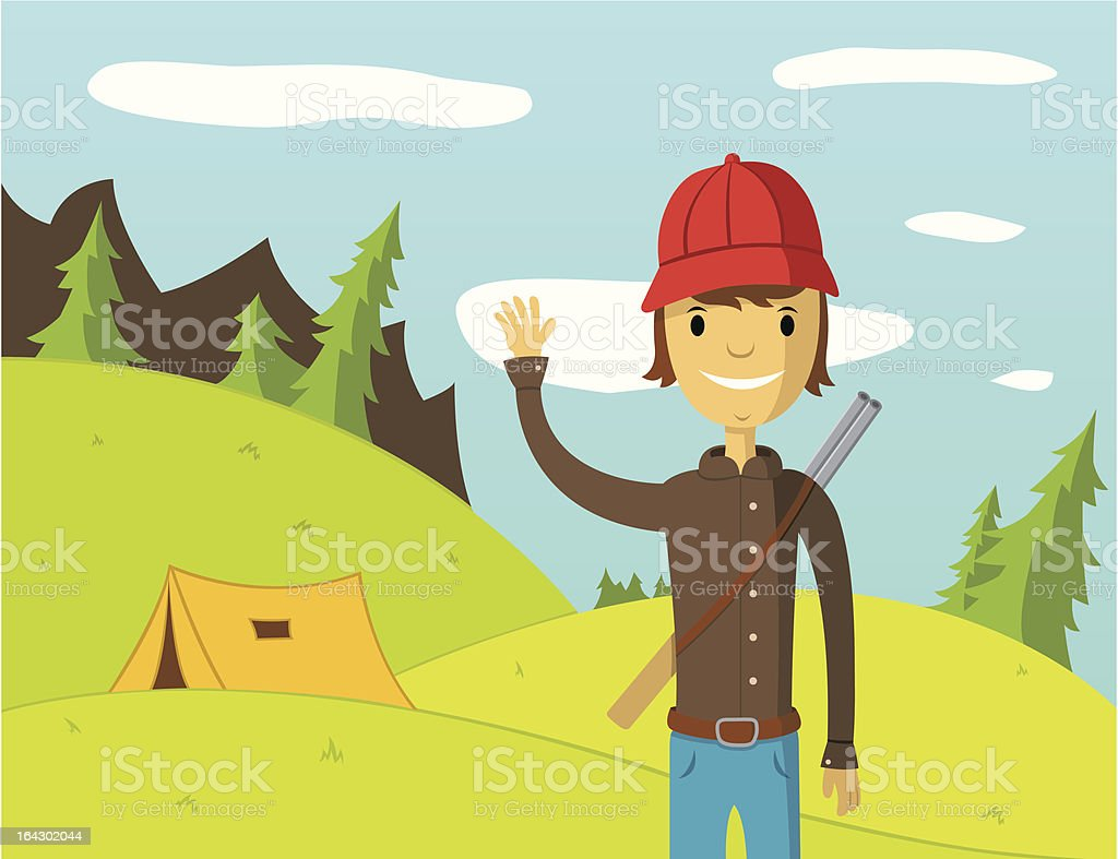 Kind smiling hunter staying in the forest and waving hand royalty-free stock vector art