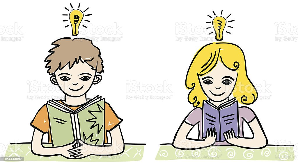 Kinder lesen Buch vector art illustration