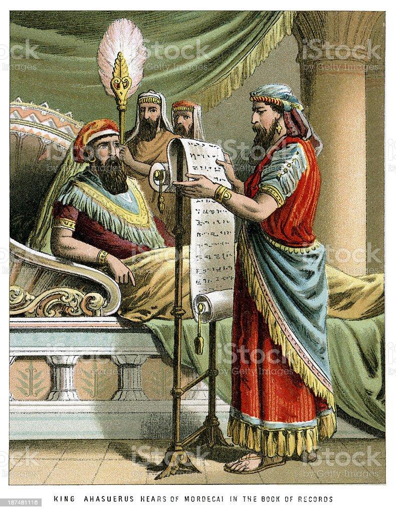 King Ahasuerus hears of Mordecai royalty-free stock vector art
