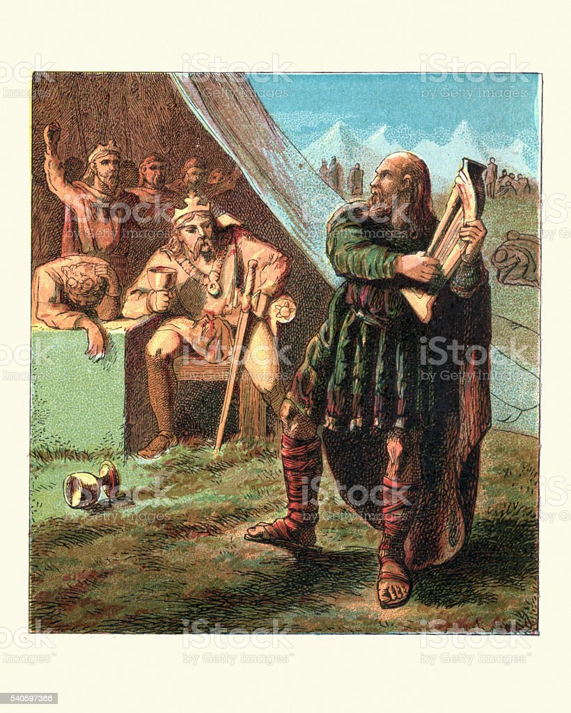 King Alfred in the Danish Camp vector art illustration
