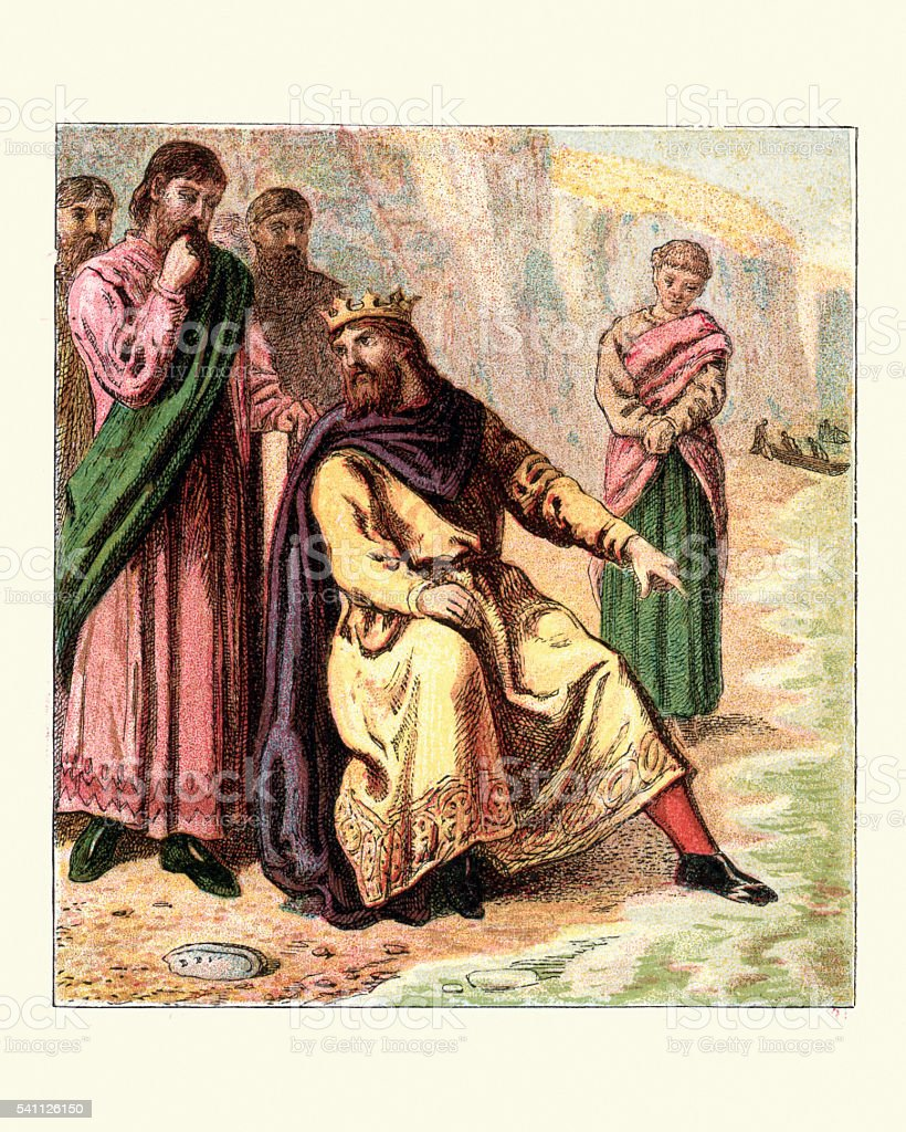 King Canute trying to hold back the tide vector art illustration
