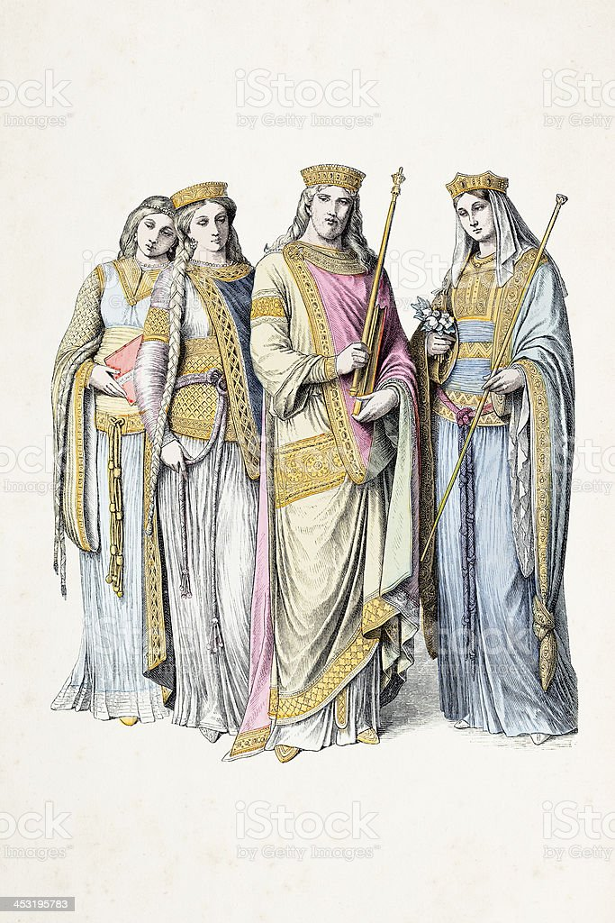 King Charlemagne with frank women 8th century vector art illustration