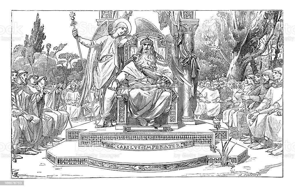 King Charles - Antique Engraving vector art illustration