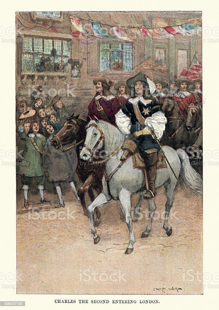 King Charles II entering London vector art illustration