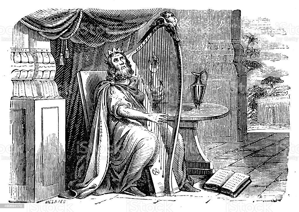 King David Engraved Image vector art illustration