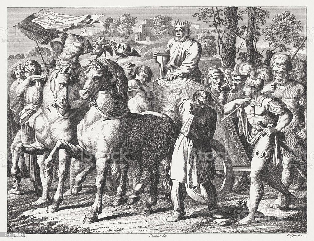 King David with the war spoils (2 Samuel 8) vector art illustration