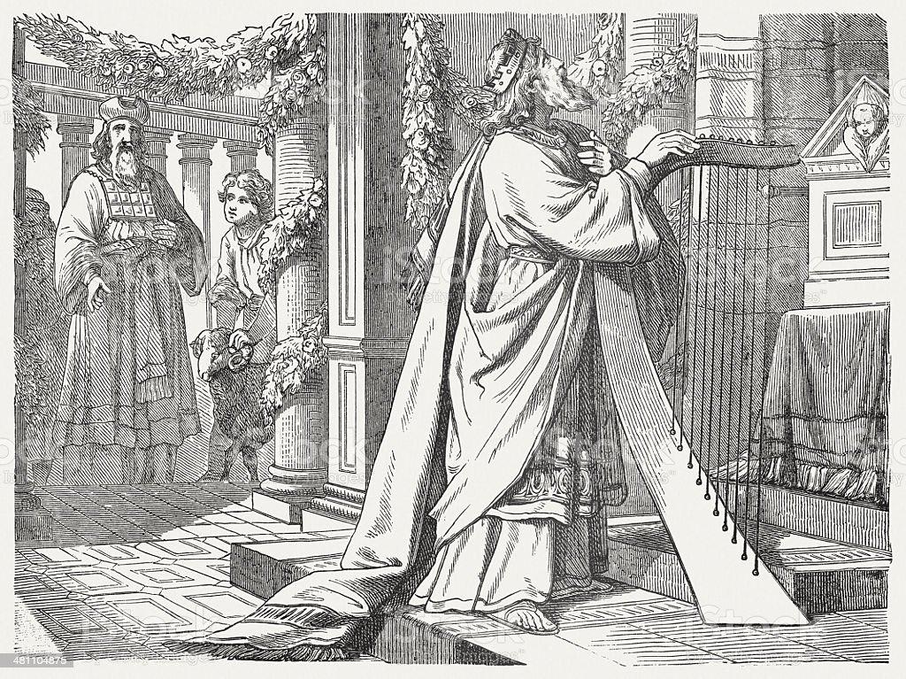 King David's worship, wood engraving, published in 1877 vector art illustration