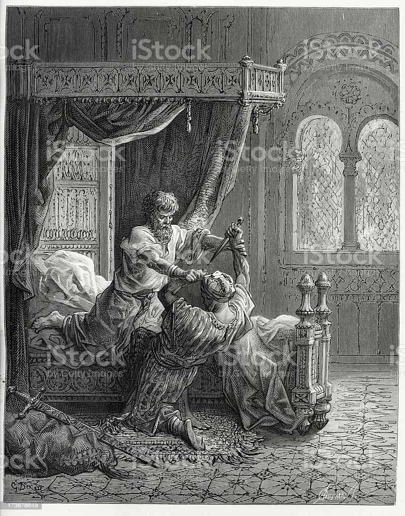 King Edward fight the assassin vector art illustration