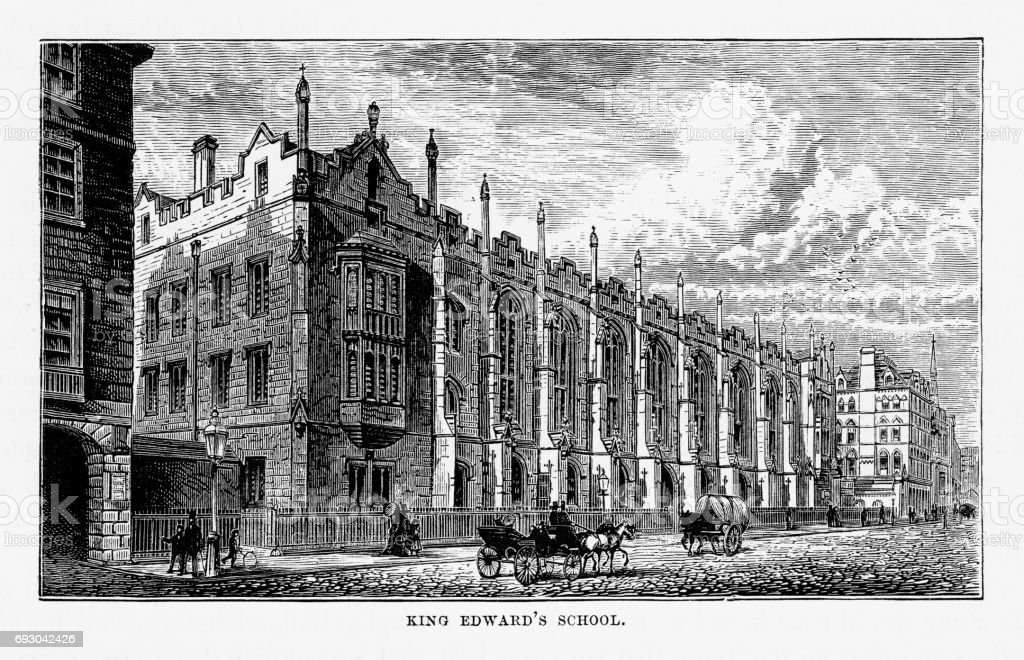 King Edward's School, Birmingham, Midlands, England Victorian Engraving, 1840 vector art illustration