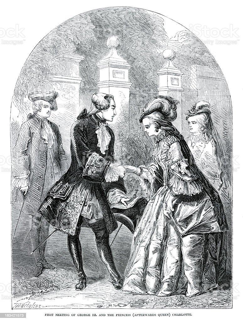 King George III and Princess Charlotte royalty-free stock vector art