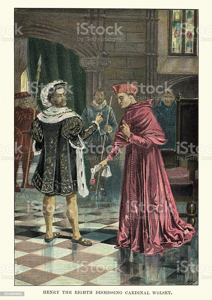 King Henry VIII dismissing Cardinal Wolsey vector art illustration