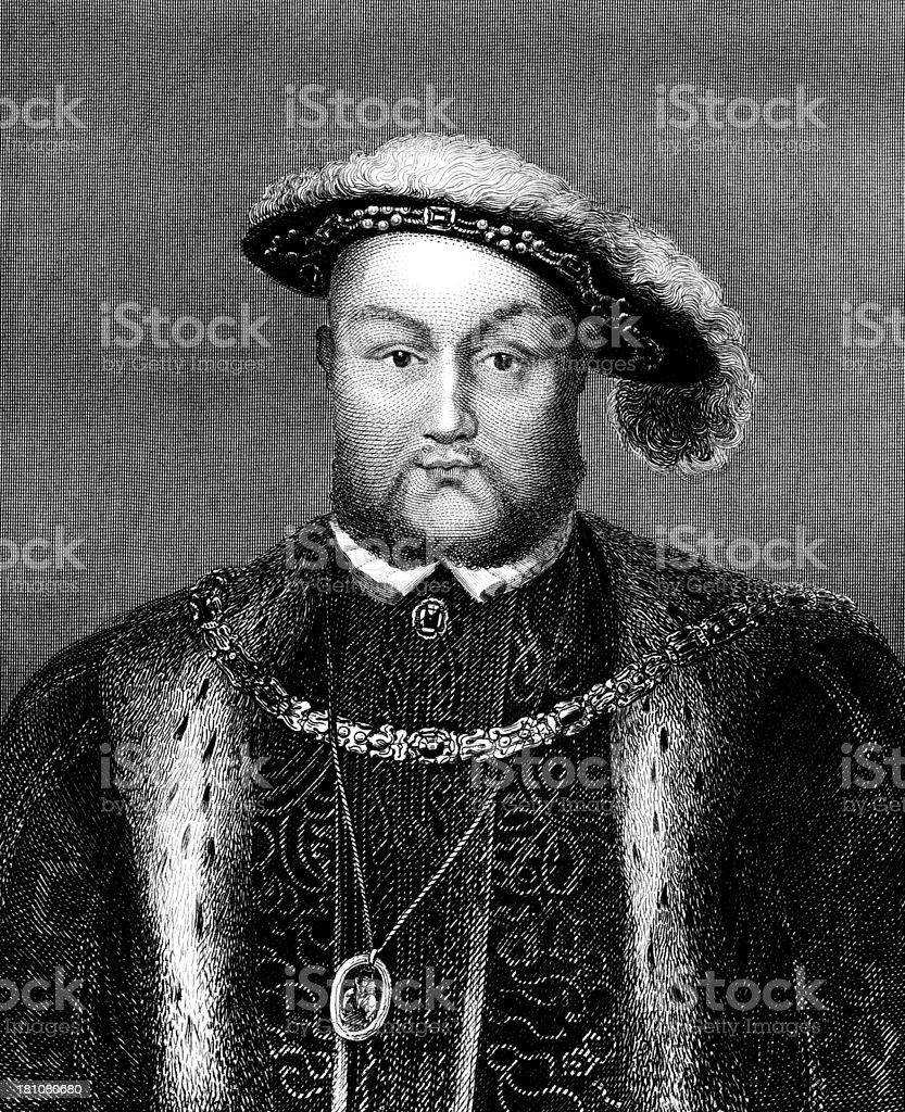 King Henry VIII of England by Hans Holbein. vector art illustration