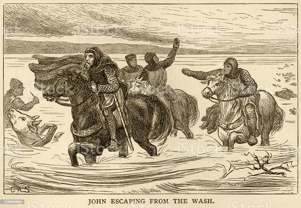 King John escaping from The Wash vector art illustration