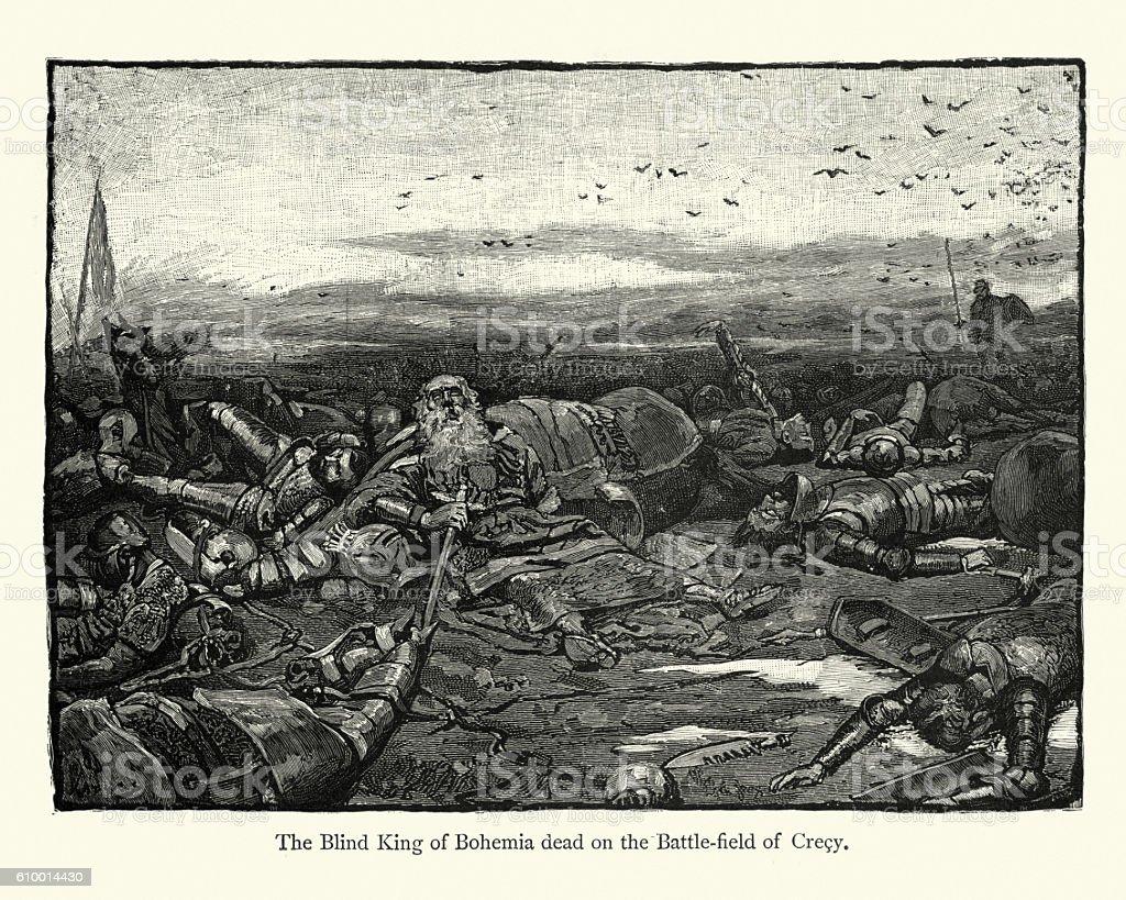 King John of Bohemia dead on the battlefield of Crecy vector art illustration