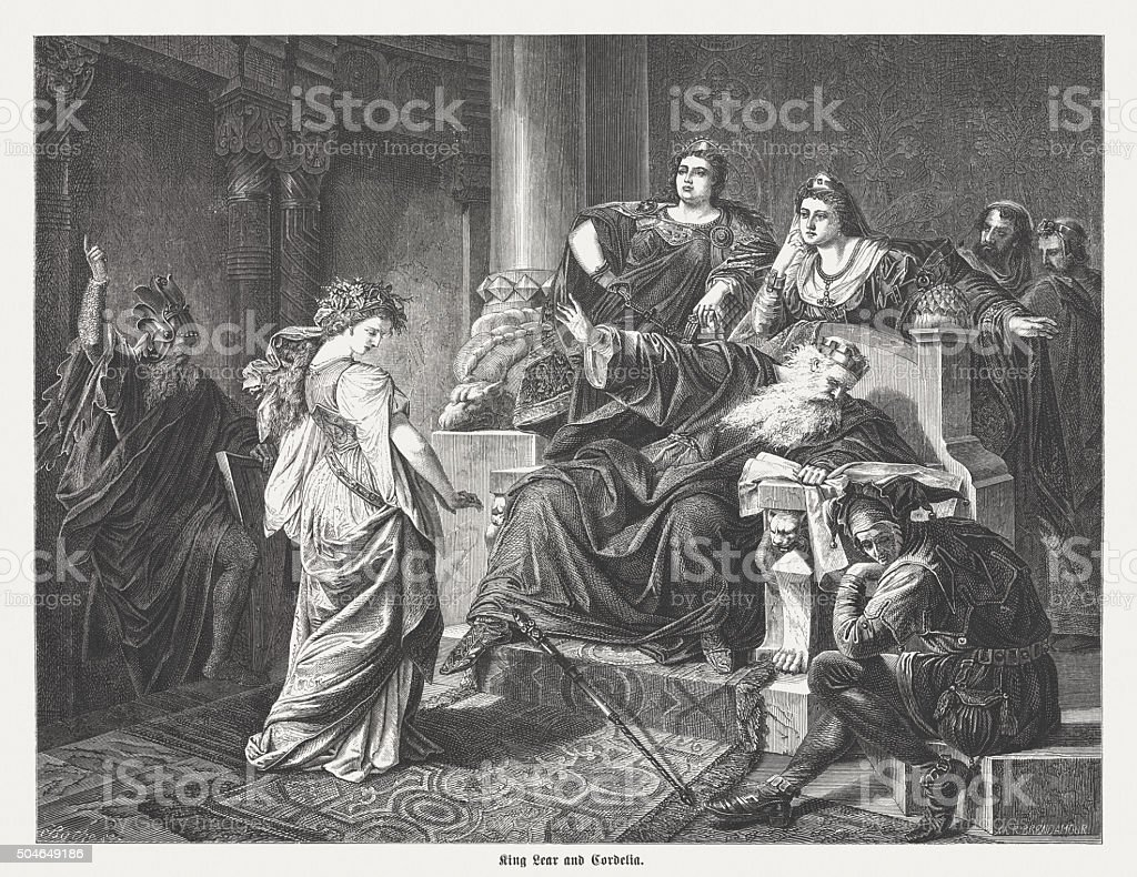 King Lear and Cordelia, wood engraving, published in 1873 vector art illustration