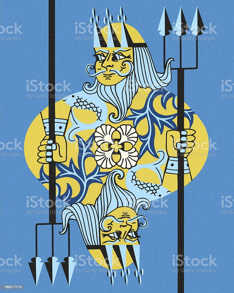 King Neptune Holding a Trident royalty-free stock vector art